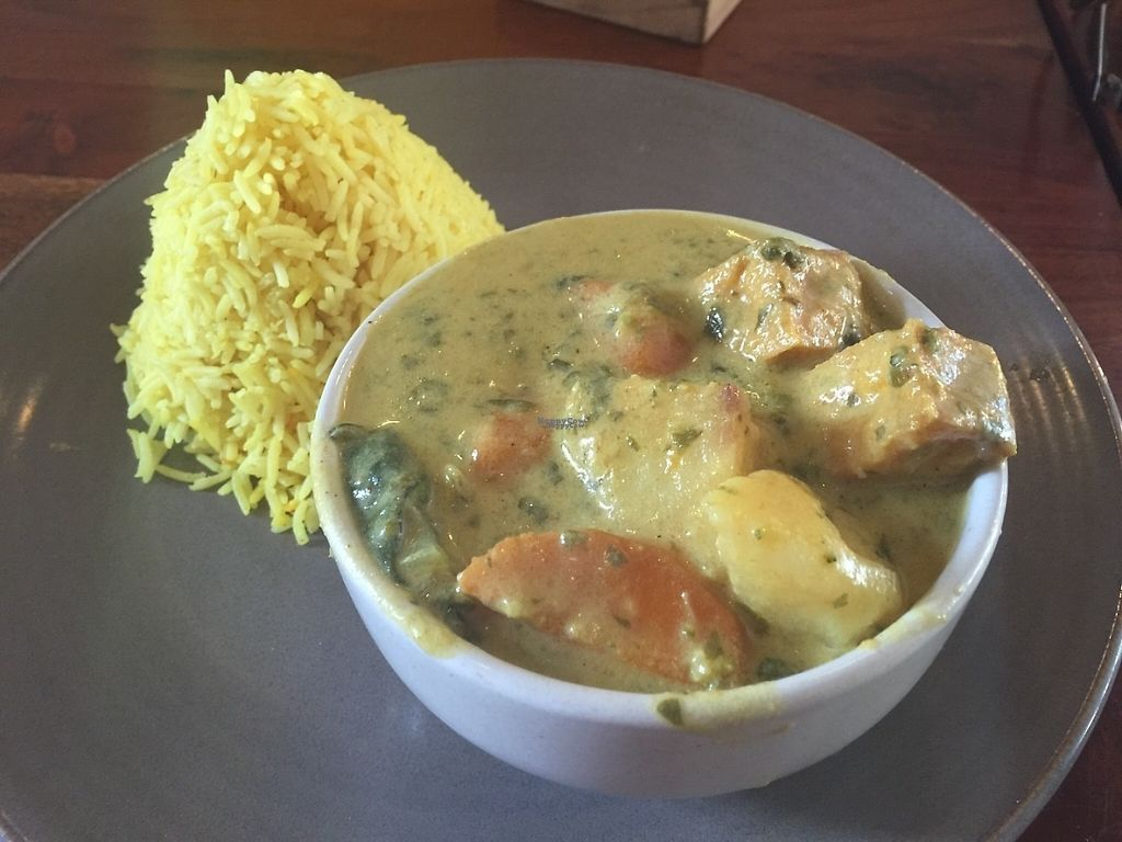 """Photo of Radhey Kitchen and Chai Bar  by <a href=""""/members/profile/Tiggy"""">Tiggy</a> <br/>Tofu green curry and rice - December 2016 <br/> December 4, 2016  - <a href='/contact/abuse/image/48629/197173'>Report</a>"""