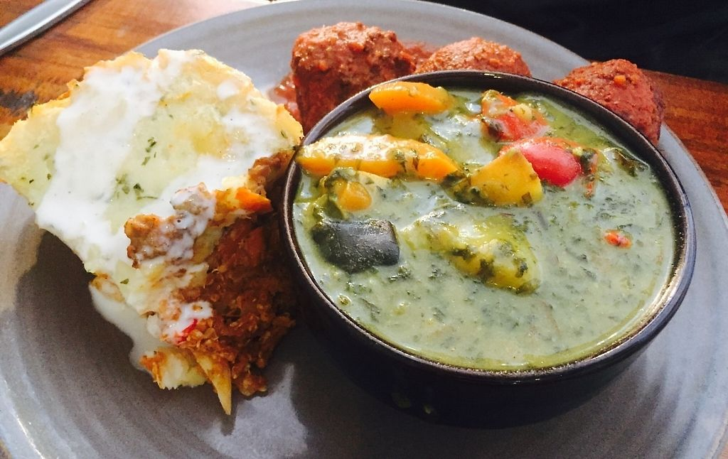 """Photo of Radhey Kitchen and Chai Bar  by <a href=""""/members/profile/karlaess"""">karlaess</a> <br/>Tofu & spinach curry, quinoa bake and kofta balls <br/> January 28, 2017  - <a href='/contact/abuse/image/48629/218150'>Report</a>"""
