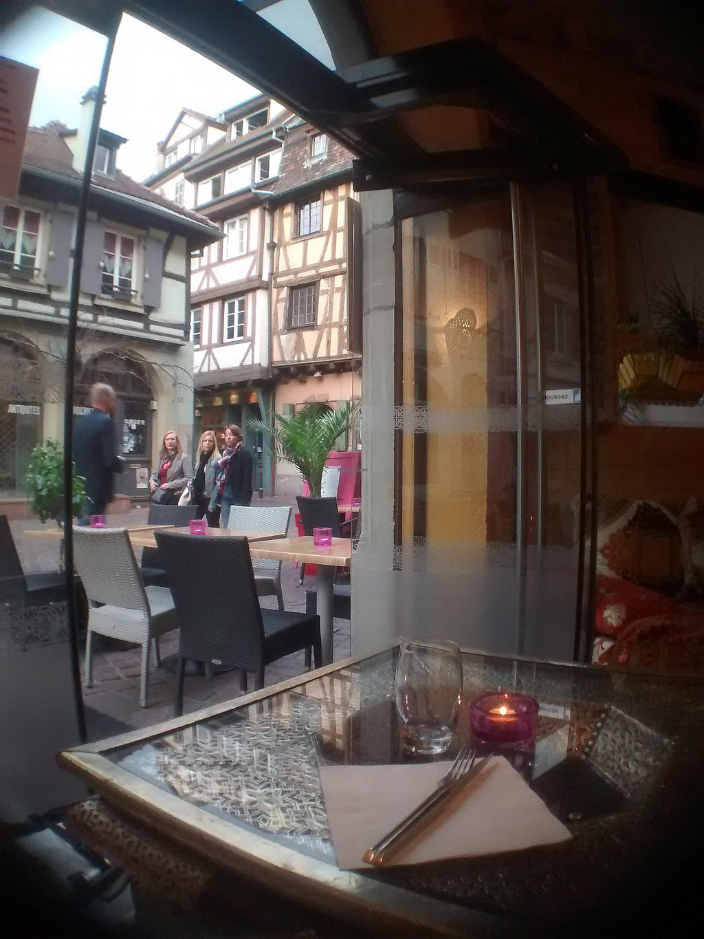 "Photo of Le Touareg  by <a href=""/members/profile/Thor"">Thor</a> <br/>A window seat at Le Touareg. The tables have an interesting Middle-Eastern pattern. The candles and other interior make for a cosy atmosphere <br/> September 18, 2017  - <a href='/contact/abuse/image/48649/305728'>Report</a>"