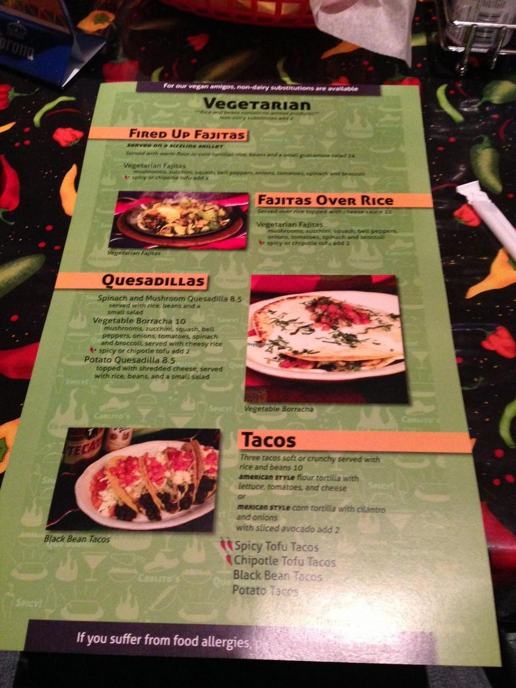 """Photo of Carlito's Mexican Bar and Grill  by <a href=""""/members/profile/TheVeganVagabond"""">TheVeganVagabond</a> <br/>Side one of the vegetarian/vegan menu <br/> July 8, 2014  - <a href='/contact/abuse/image/48681/73565'>Report</a>"""