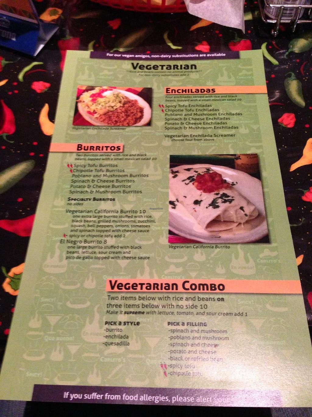 """Photo of Carlito's Mexican Bar and Grill  by <a href=""""/members/profile/TheVeganVagabond"""">TheVeganVagabond</a> <br/>Side two of the veg menu <br/> July 8, 2014  - <a href='/contact/abuse/image/48681/73566'>Report</a>"""