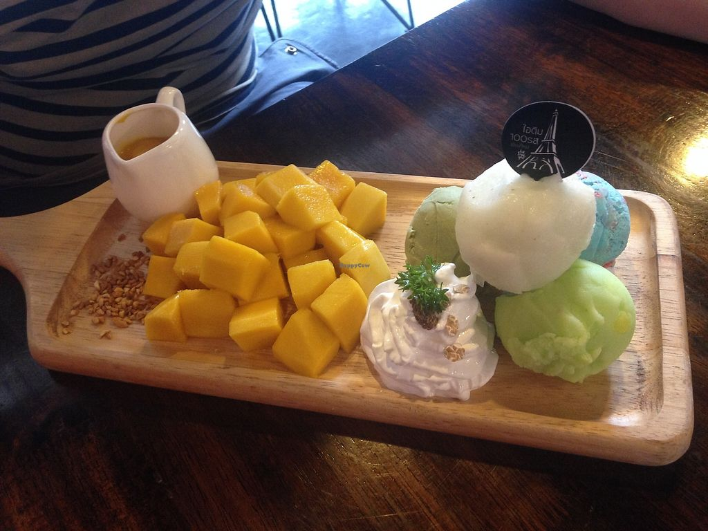 """Photo of Ice Love You  by <a href=""""/members/profile/SandraRickert"""">SandraRickert</a> <br/>Mango with four types of vegan icecream  <br/> July 6, 2017  - <a href='/contact/abuse/image/48705/277108'>Report</a>"""