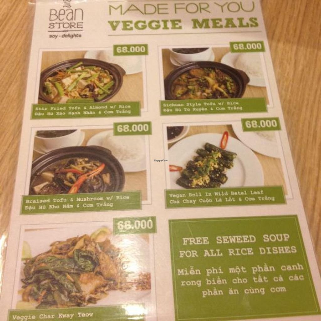 """Photo of CLOSED: The Bean Store - Vo Van Tan  by <a href=""""/members/profile/Kimxula"""">Kimxula</a> <br/>veggie menu <br/> July 8, 2014  - <a href='/contact/abuse/image/48711/73585'>Report</a>"""