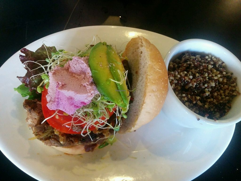 """Photo of Conscious Culture Cafe  by <a href=""""/members/profile/alexandra_vegan"""">alexandra_vegan</a> <br/>Couscous Classic Burger with extra cashew cheese and avocado. quinoa on the side <br/> October 2, 2017  - <a href='/contact/abuse/image/48712/310890'>Report</a>"""