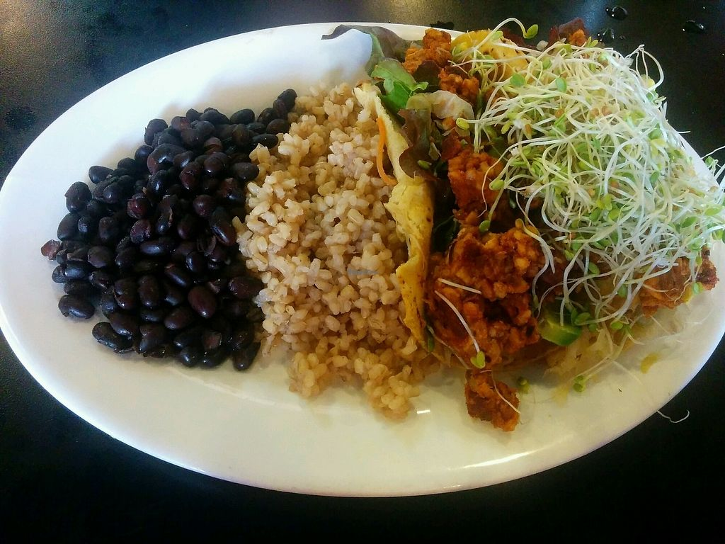 """Photo of Conscious Culture Cafe  by <a href=""""/members/profile/alexandra_vegan"""">alexandra_vegan</a> <br/>Tempwh chorizo tacos with extra avocado <br/> October 2, 2017  - <a href='/contact/abuse/image/48712/310891'>Report</a>"""