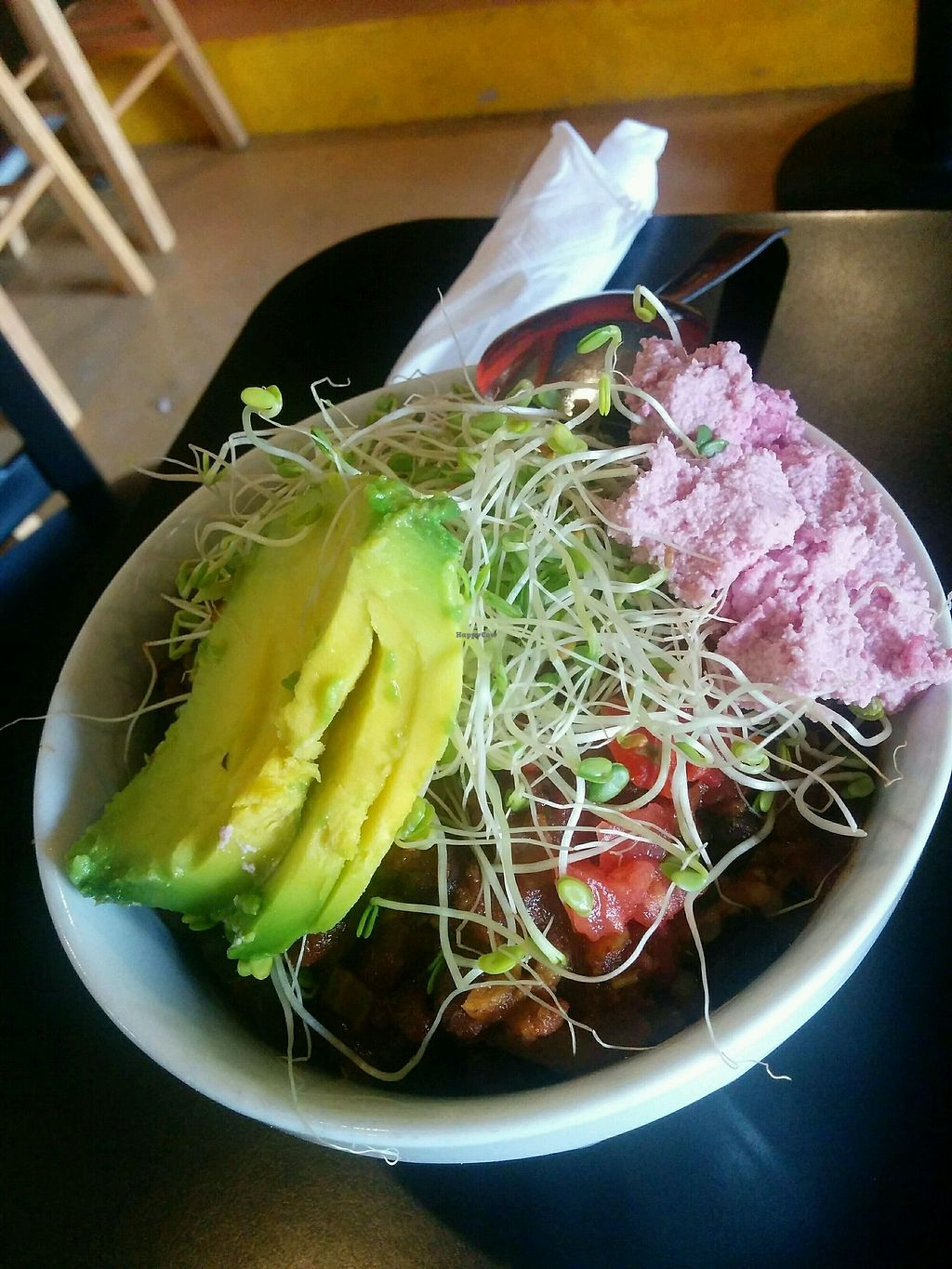 """Photo of Conscious Culture Cafe  by <a href=""""/members/profile/alexandra_vegan"""">alexandra_vegan</a> <br/>Vegan chilli bowl with extra cashew cheese and avocado <br/> October 2, 2017  - <a href='/contact/abuse/image/48712/310894'>Report</a>"""