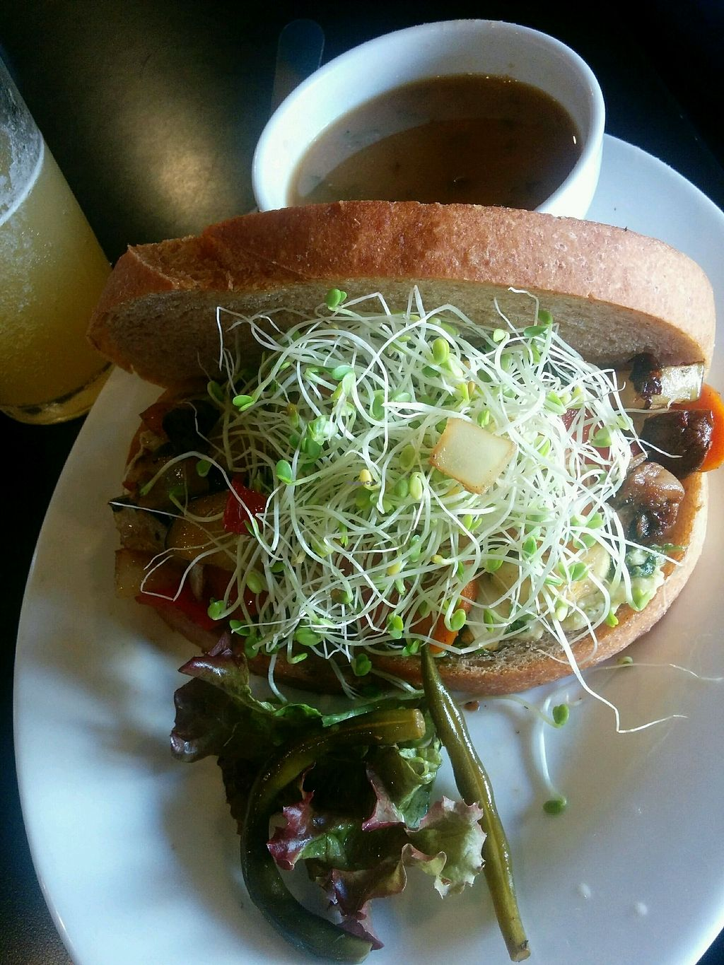 """Photo of Conscious Culture Cafe  by <a href=""""/members/profile/alexandra_vegan"""">alexandra_vegan</a> <br/>Veggie Sammy with miso soup on the side <br/> October 2, 2017  - <a href='/contact/abuse/image/48712/310896'>Report</a>"""
