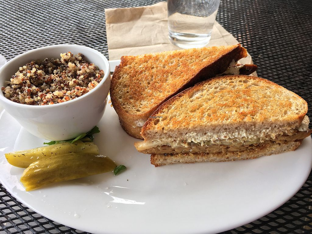 """Photo of Conscious Culture Cafe  by <a href=""""/members/profile/DianeH"""">DianeH</a> <br/>Tempeh reuben with cashew cheese and a side of quinoa  <br/> January 21, 2018  - <a href='/contact/abuse/image/48712/349104'>Report</a>"""