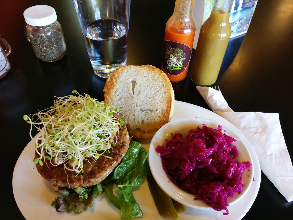 """Photo of Conscious Culture Cafe  by <a href=""""/members/profile/KarinKoala"""">KarinKoala</a> <br/>conscious classic burger with garlic kraut.  <br/> March 21, 2018  - <a href='/contact/abuse/image/48712/373812'>Report</a>"""