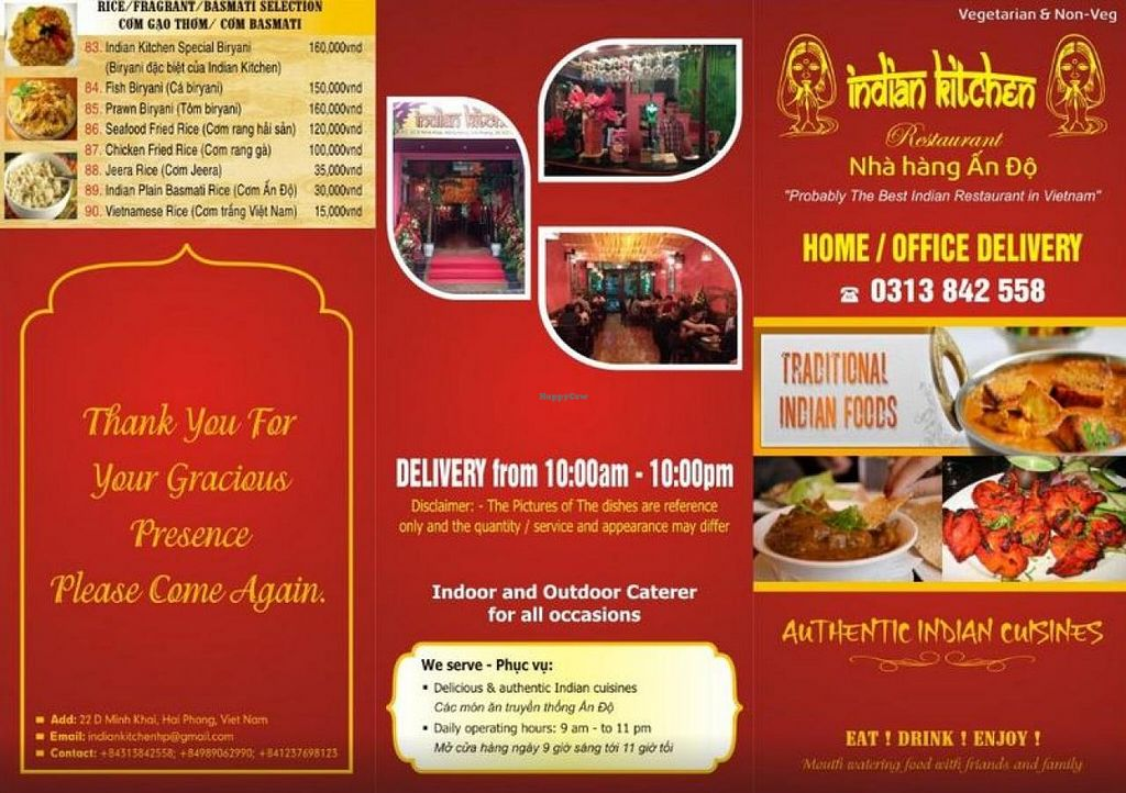 """Photo of Indian Kitchen  by <a href=""""/members/profile/Ranks42"""">Ranks42</a> <br/>Restaurant's Brochure <br/> July 11, 2014  - <a href='/contact/abuse/image/48741/73699'>Report</a>"""