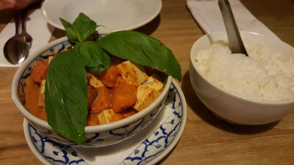 """Photo of Thai House - Bayit Thailandi  by <a href=""""/members/profile/Atar%20Herbivora"""">Atar Herbivora</a> <br/>Sweet potato and tofu in coconut milk <br/> October 7, 2016  - <a href='/contact/abuse/image/48785/180404'>Report</a>"""