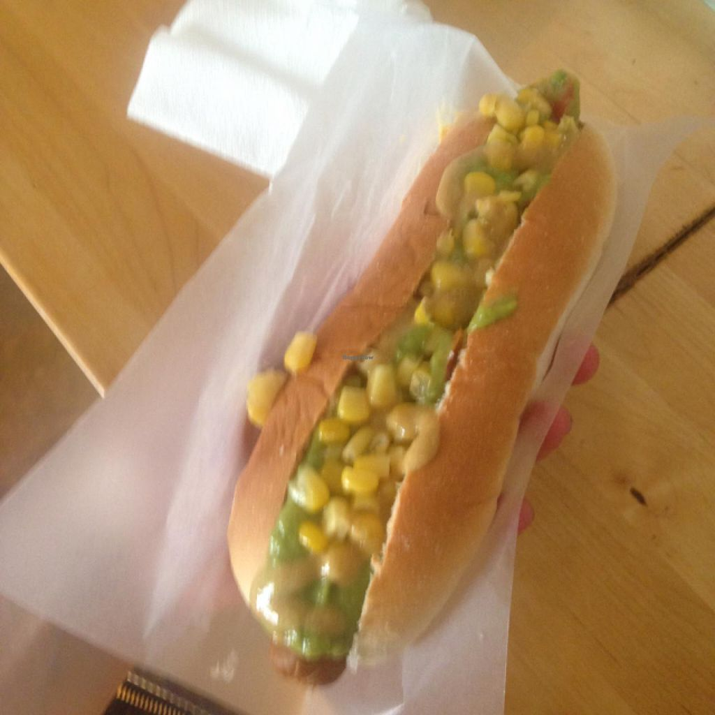 """Photo of The Dog is Hot  by <a href=""""/members/profile/theoriginalrono"""">theoriginalrono</a> <br/>Tofu dog with guacamole, corn, and mustard <br/> July 14, 2015  - <a href='/contact/abuse/image/48881/109317'>Report</a>"""