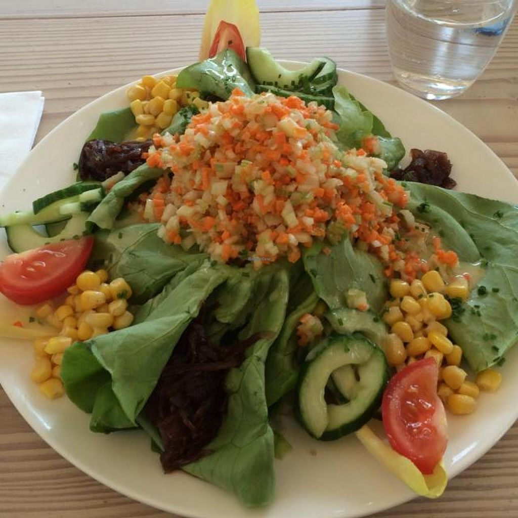 "Photo of Cafe Mudam  by <a href=""/members/profile/Joshilib"">Joshilib</a> <br/>vegan salad (comes with rice and fruit) - €13 <br/> August 28, 2014  - <a href='/contact/abuse/image/48899/78472'>Report</a>"