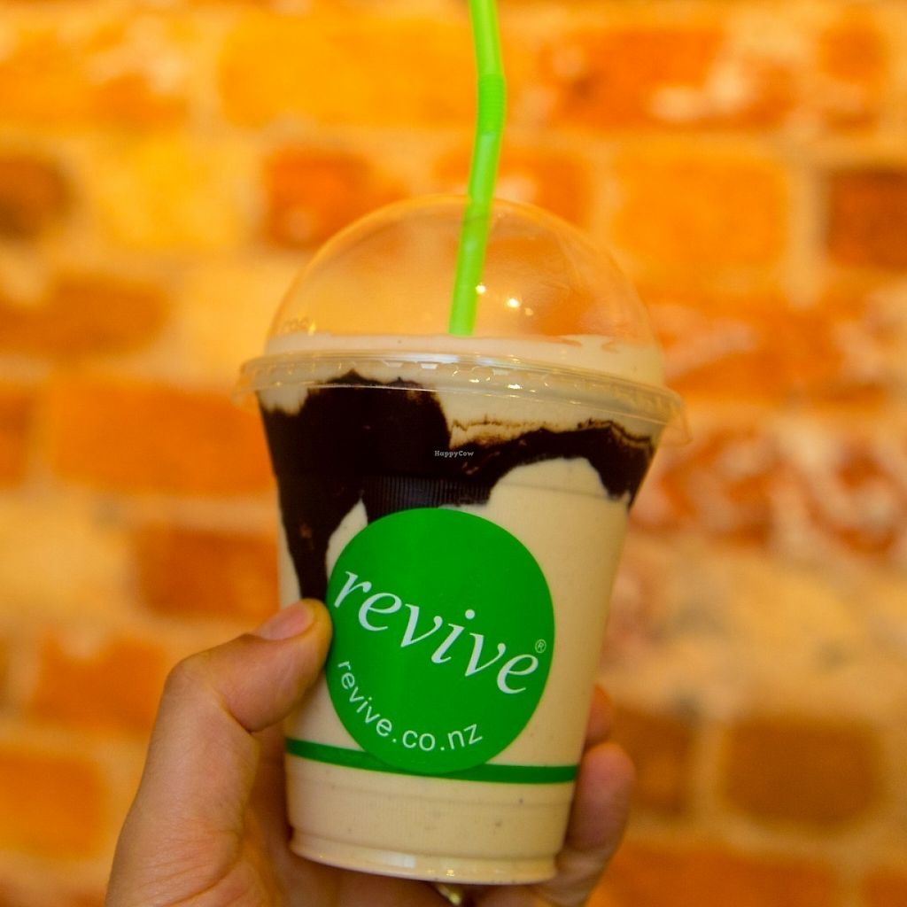 """Photo of Revive Vegetarian Cafe - Wyndham St  by <a href=""""/members/profile/LisaBurne"""">LisaBurne</a> <br/>Peanut Butter Smoothie!!  <br/> May 29, 2017  - <a href='/contact/abuse/image/4893/263640'>Report</a>"""