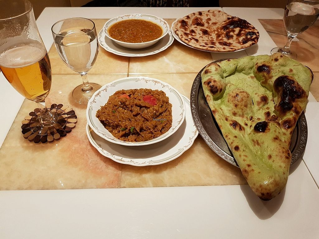 """Photo of Nataraj - Ginza  by <a href=""""/members/profile/barbicanben"""">barbicanben</a> <br/>Baighan burtha, soya keema, roti and vegan naan <br/> March 30, 2018  - <a href='/contact/abuse/image/4894/378515'>Report</a>"""