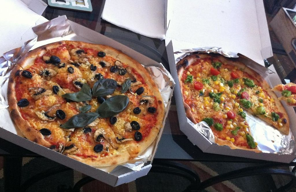 """Photo of Zdrava Pizza  by <a href=""""/members/profile/elbobro"""">elbobro</a> <br/>Pizzas with vegan cheese from Malbo <br/> August 29, 2014  - <a href='/contact/abuse/image/48996/243713'>Report</a>"""