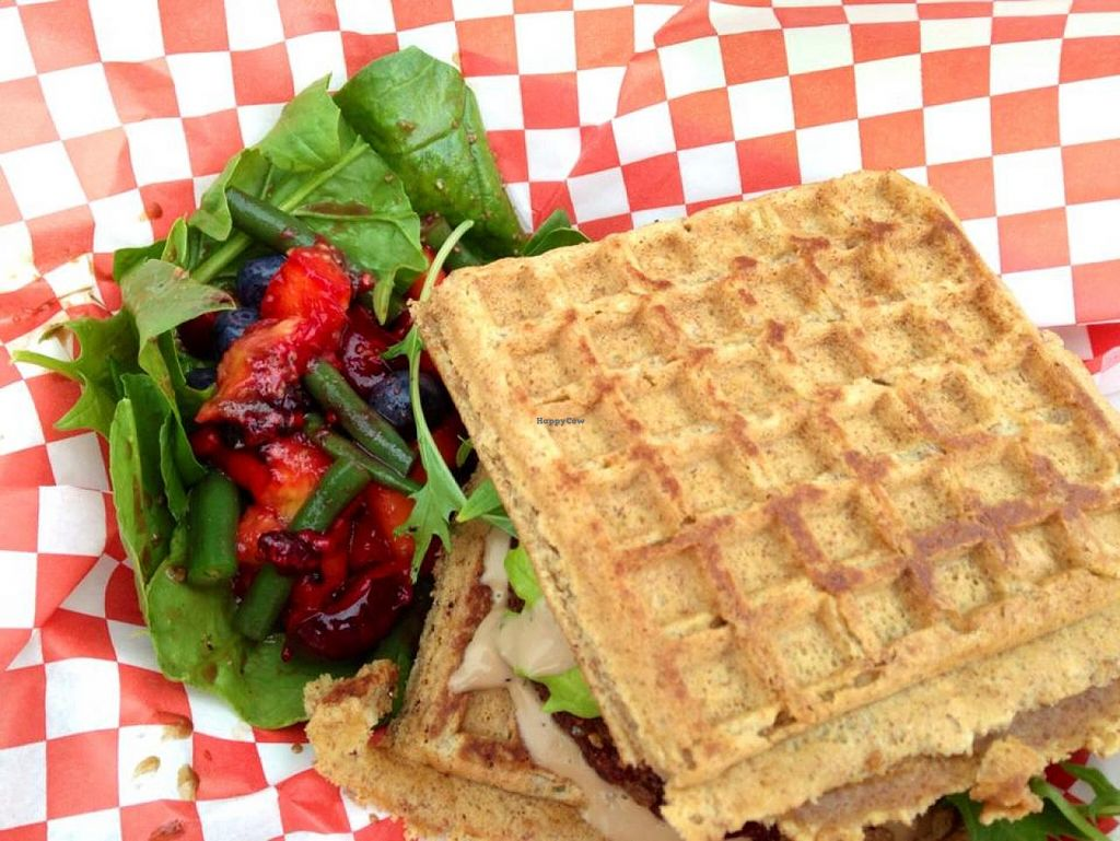 """Photo of Emergency Munchie Truck  by <a href=""""/members/profile/Marsha48"""">Marsha48</a> <br/>Veggie burger on waffle bun, topped with spicy mayo, with a salad on the side using local produce. Meal is completely vegan (she uses a vegan waffle recipe, and vegan mayo!) <br/> May 12, 2015  - <a href='/contact/abuse/image/49019/102008'>Report</a>"""