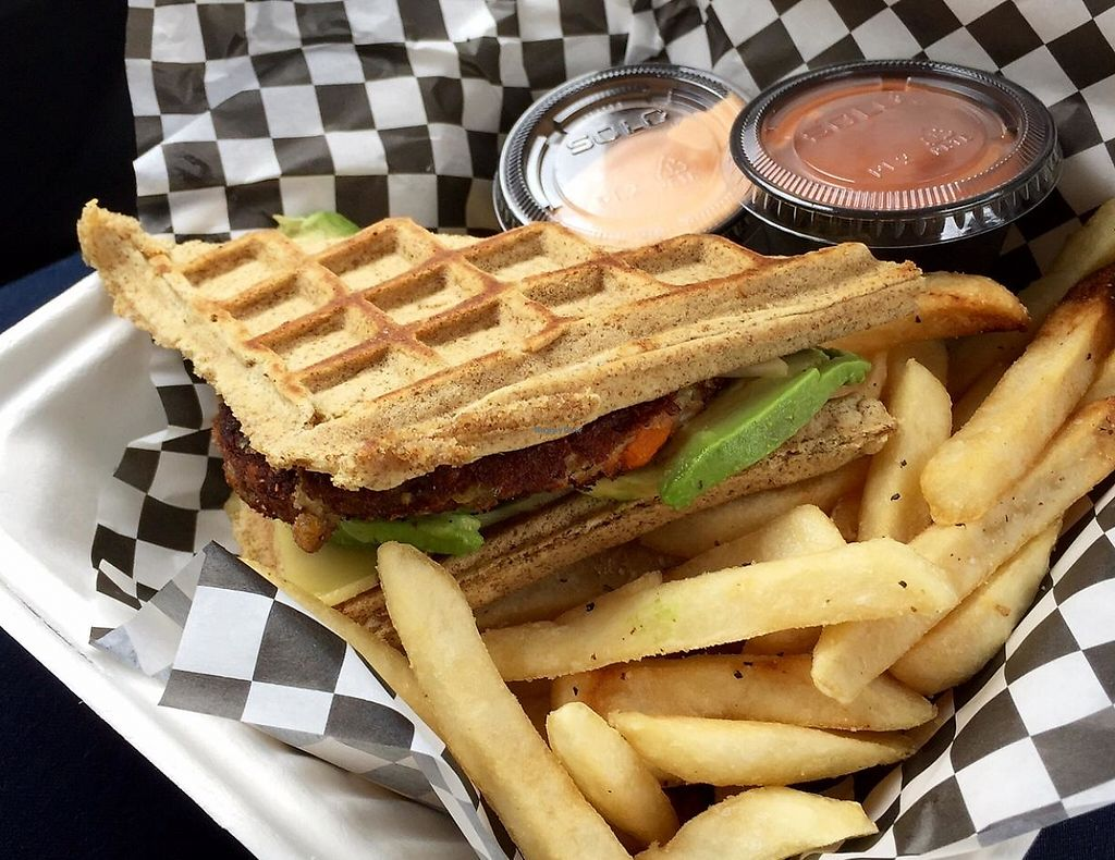 """Photo of Emergency Munchie Truck  by <a href=""""/members/profile/Marsha48"""">Marsha48</a> <br/>Vegan burger with garlic fries, and vegan Munchie Sauce (YUM) <br/> May 12, 2015  - <a href='/contact/abuse/image/49019/199902'>Report</a>"""