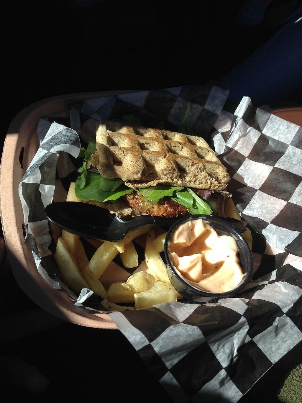 """Photo of Emergency Munchie Truck  by <a href=""""/members/profile/brooke____bear"""">brooke____bear</a> <br/>Waffle sandwich with vegan mayonnaise and fries <br/> April 18, 2017  - <a href='/contact/abuse/image/49019/249533'>Report</a>"""