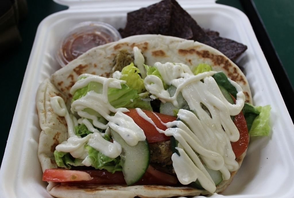 """Photo of Three Carrots - City Market  by <a href=""""/members/profile/veggie_htx"""">veggie_htx</a> <br/>Seitan gyro <br/> August 24, 2016  - <a href='/contact/abuse/image/49037/199846'>Report</a>"""