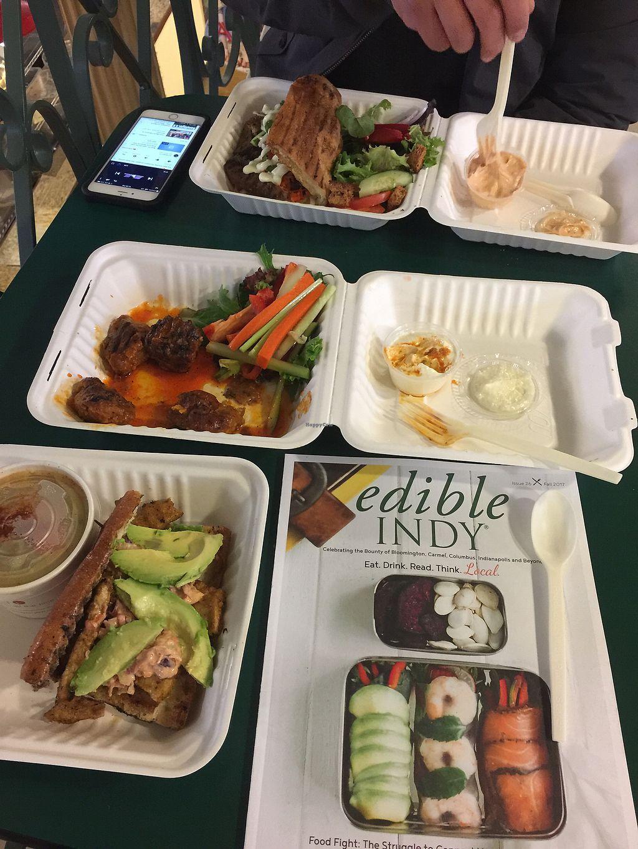 "Photo of Three Carrots - City Market  by <a href=""/members/profile/bsdeleon"">bsdeleon</a> <br/>Tofu Rich Girl, Buffalo Nuggets, Dumpling soup, Seitan Bahn Mi — amazing <br/> November 4, 2017  - <a href='/contact/abuse/image/49037/321800'>Report</a>"