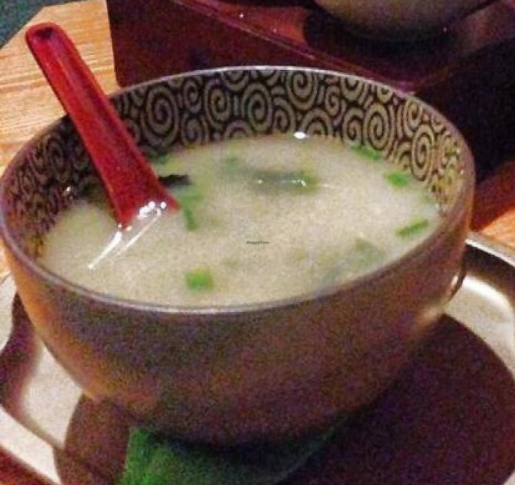 """Photo of Dobra Tea  by <a href=""""/members/profile/VeganityFlair"""">VeganityFlair</a> <br/>A delightful pot of Japanese green tea, miso soup and daifuku. All delicious. All vegan.  <br/> July 19, 2014  - <a href='/contact/abuse/image/49038/201490'>Report</a>"""