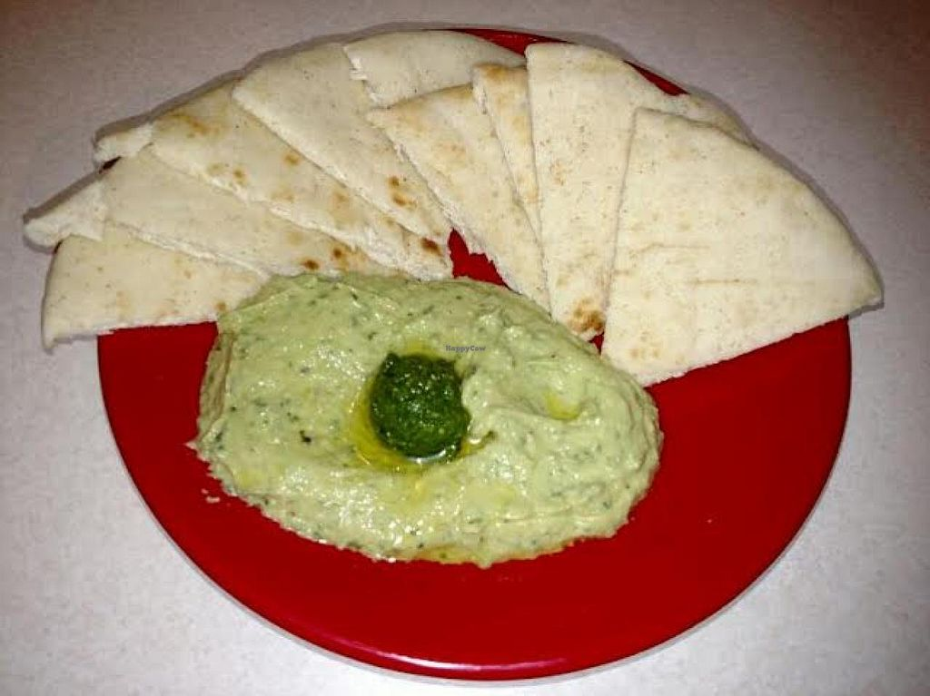 """Photo of Zoe's Kitchen  by <a href=""""/members/profile/Jett-Setter"""">Jett-Setter</a> <br/>Basil Pesto Hummus <br/> June 5, 2015  - <a href='/contact/abuse/image/49056/104885'>Report</a>"""
