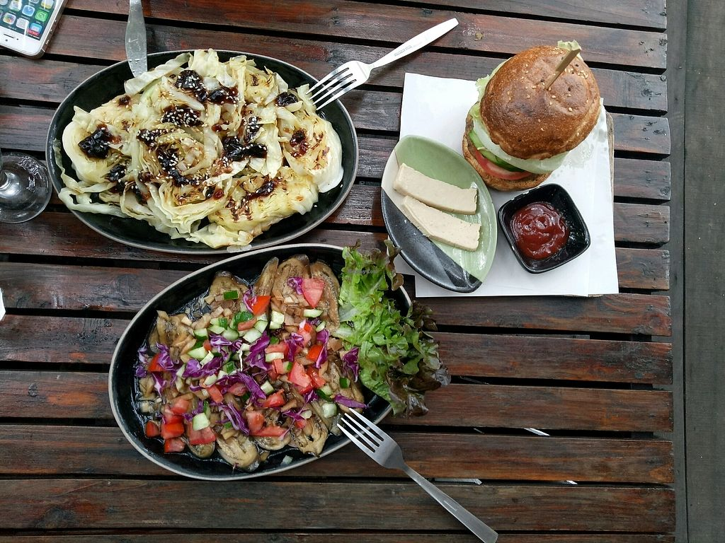 "Photo of Amrita Garden  by <a href=""/members/profile/DominikaStastna"">DominikaStastna</a> <br/>Cabbage steak,  eggplants and burger <br/> October 20, 2017  - <a href='/contact/abuse/image/49074/316804'>Report</a>"