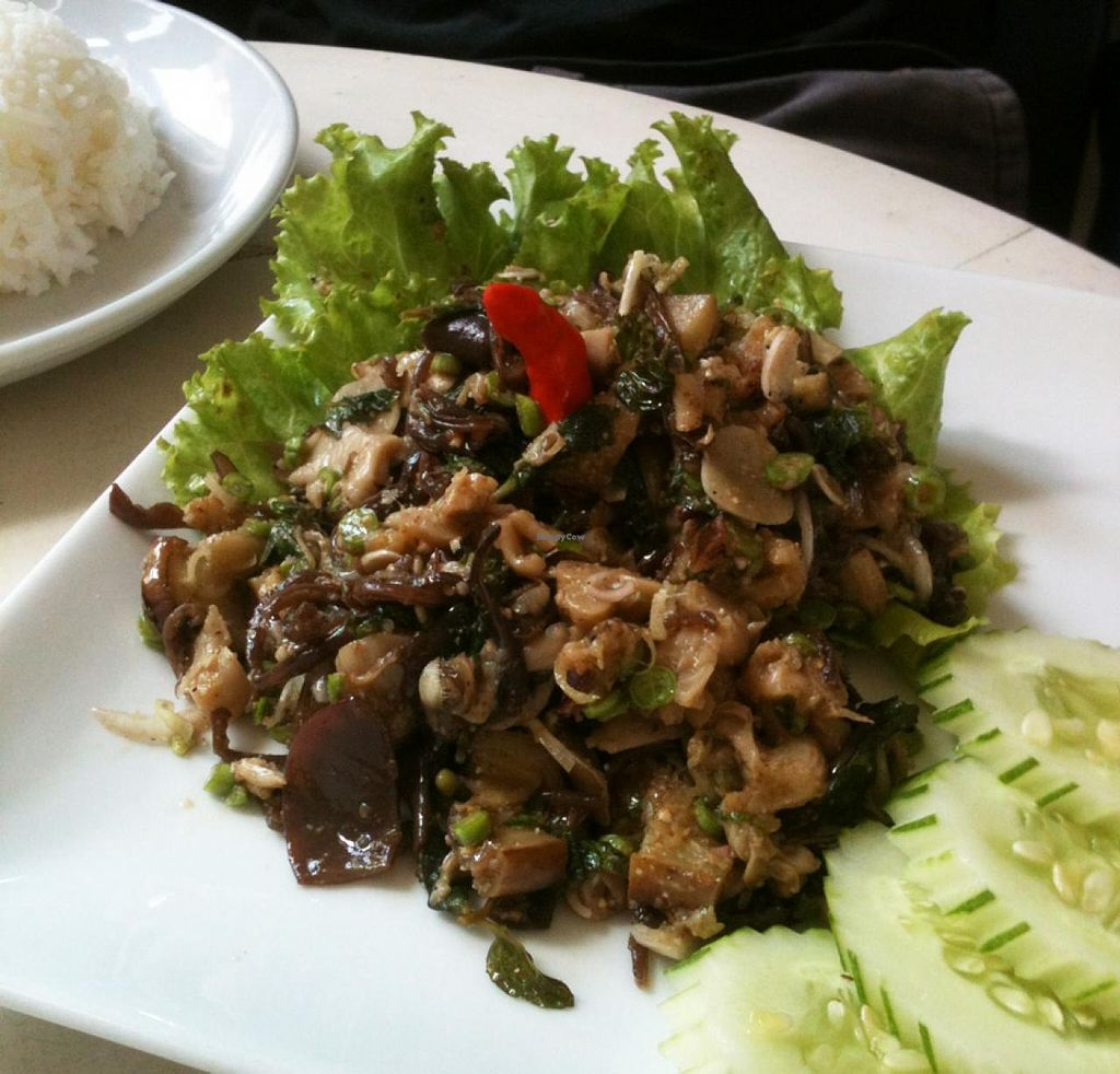 "Photo of Indigo Cafe  by <a href=""/members/profile/walkingvegan"">walkingvegan</a> <br/>Called 'Laab Mak Keua' for 35000 kip. Grilled eggplant, mushrooms, herbs (lemon grass, garlic, galingale and a little bit of pepper), long bean and Vegetables. Served with rice.  <br/> July 24, 2014  - <a href='/contact/abuse/image/49081/74993'>Report</a>"