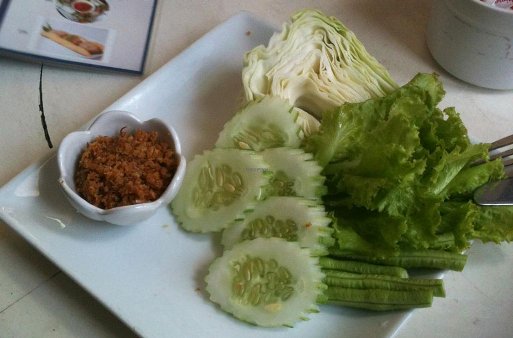 "Photo of Indigo Cafe  by <a href=""/members/profile/walkingvegan"">walkingvegan</a> <br/>Called Jaew King - a tradicional Luangprabang food. Raw vegetables with a kind of paste made with ginger, herbs, peanuts and garlic. 25000 kip <br/> July 25, 2014  - <a href='/contact/abuse/image/49081/74996'>Report</a>"