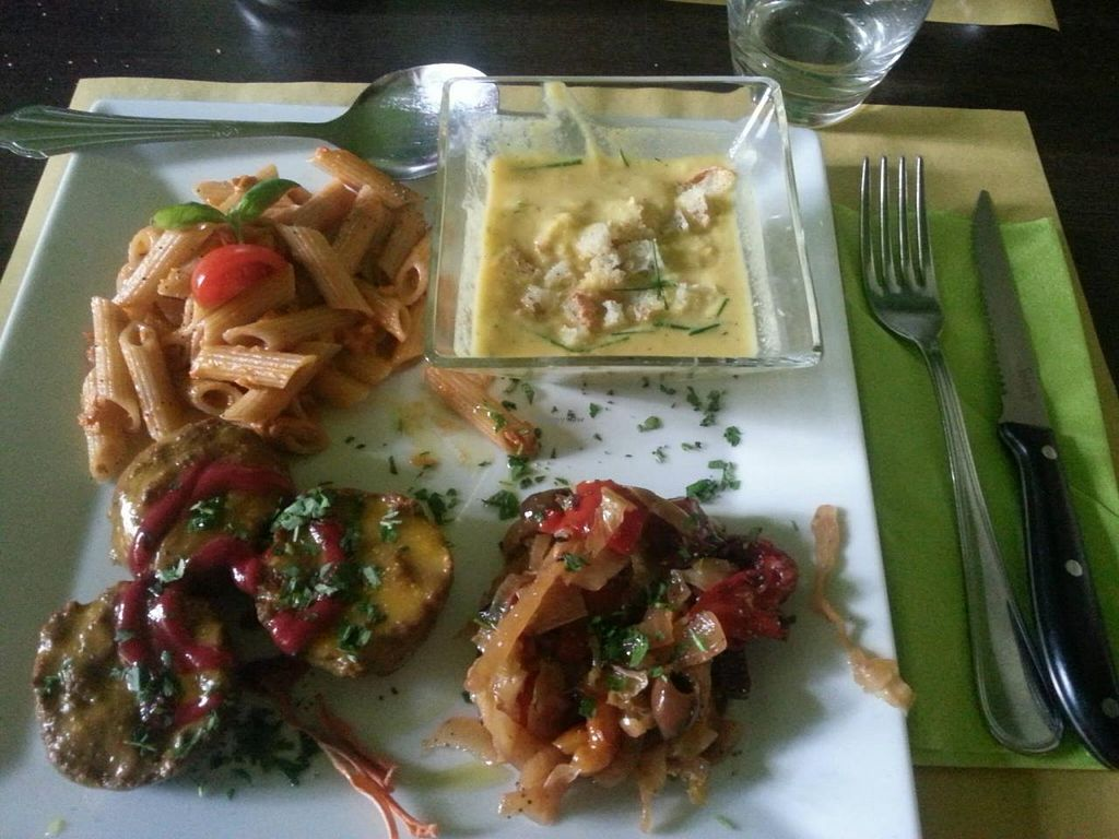 "Photo of Bioveggy  by <a href=""/members/profile/reuvenk"">reuvenk</a> <br/>Business lunch that we had at Bioveggy - pasta al dente, mini vegi-burgers, corn soup and marinated vegetables <br/> October 12, 2014  - <a href='/contact/abuse/image/49087/82703'>Report</a>"