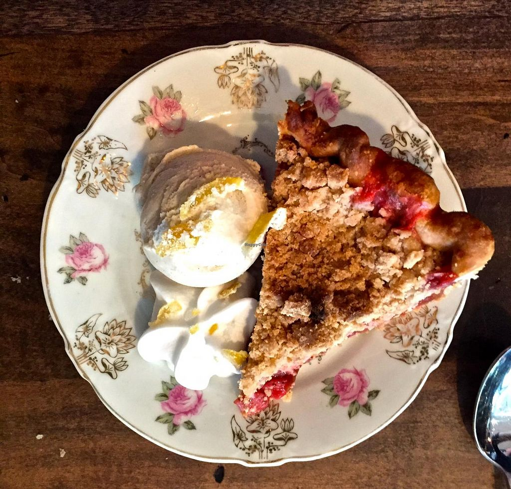 """Photo of Modern Love  by <a href=""""/members/profile/beckettthedog"""">beckettthedog</a> <br/>Strawberry Rhubarb Crumb Pie, with ice cream <br/> June 7, 2015  - <a href='/contact/abuse/image/49171/105024'>Report</a>"""