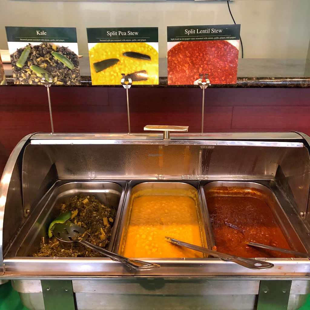 "Photo of Rahel Ethiopian Vegan Cuisine  by <a href=""/members/profile/suzagord"">suzagord</a> <br/>Kale, split pea stew, split lentil stew <br/> April 23, 2018  - <a href='/contact/abuse/image/4917/390084'>Report</a>"