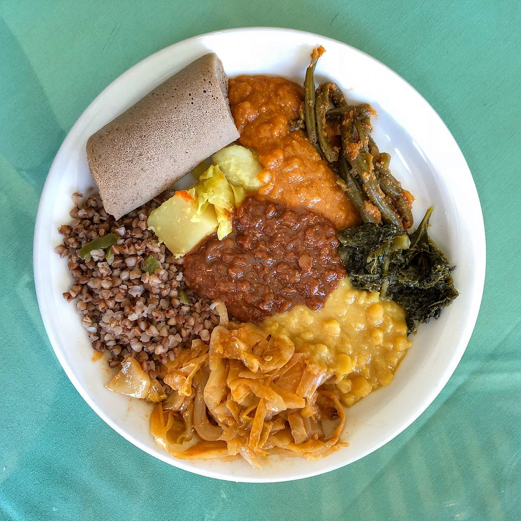 "Photo of Rahel Ethiopian Vegan Cuisine  by <a href=""/members/profile/suzagord"">suzagord</a> <br/>My less messy plateful  <br/> April 23, 2018  - <a href='/contact/abuse/image/4917/390091'>Report</a>"