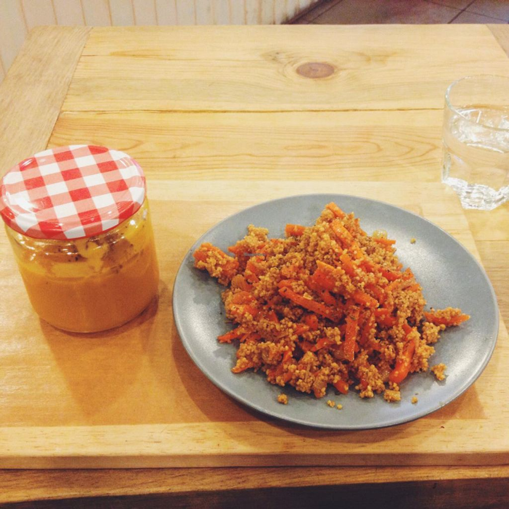 """Photo of The Little Big Cafe  by <a href=""""/members/profile/MO.MARIEL"""">MO.MARIEL</a> <br/>squash and carrot soup + couscous and carrot salad  <br/> March 23, 2015  - <a href='/contact/abuse/image/49196/96775'>Report</a>"""