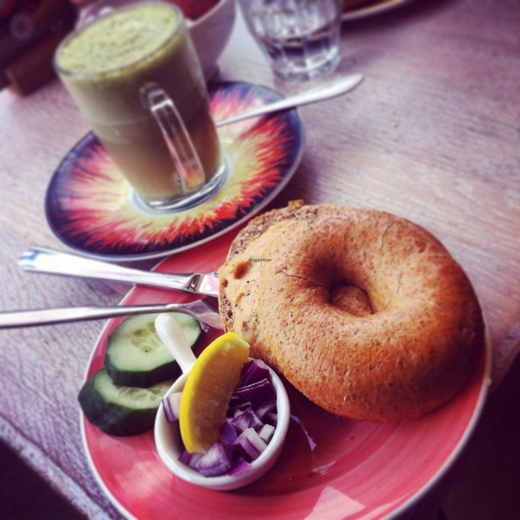 """Photo of Bagels & Beans - Van Hallstraat  by <a href=""""/members/profile/Johannes%20Freundlich"""">Johannes Freundlich</a> <br/>vegan 'tuna' bagel <br/> March 7, 2015  - <a href='/contact/abuse/image/49258/95161'>Report</a>"""