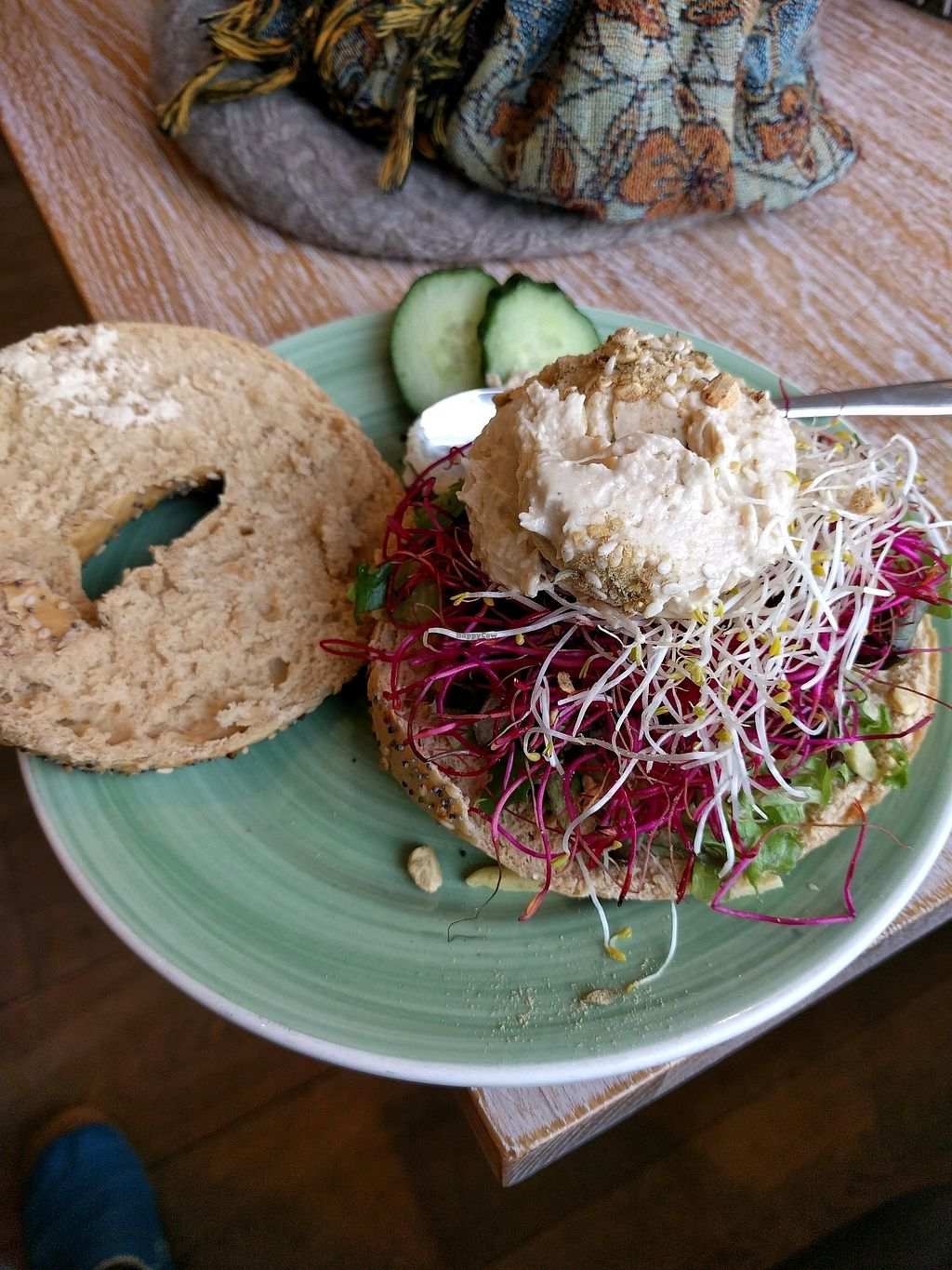 "Photo of Bagels & Beans - Waterlooplein  by <a href=""/members/profile/Jessica_Marie"">Jessica_Marie</a> <br/>Hummus Bagel <br/> October 20, 2017  - <a href='/contact/abuse/image/49261/316841'>Report</a>"