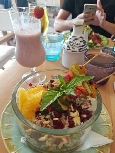 "Photo of Casa e Bottega Positano  by <a href=""/members/profile/mfrenette"">mfrenette</a> <br/>red rice bowl with grilled veggies, pine nuts and orange plus a smoothie with soya milk <br/> September 2, 2016  - <a href='/contact/abuse/image/49295/173041'>Report</a>"