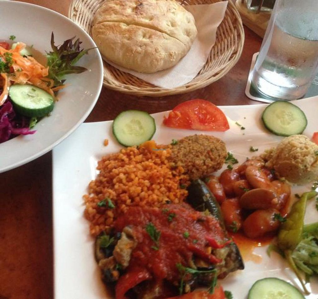 """Photo of Bonema  by <a href=""""/members/profile/Brok%20O.%20Lee"""">Brok O. Lee</a> <br/>Vegan Hot and Cold Plate with Side Salad and Turkish Pita <br/> August 4, 2014  - <a href='/contact/abuse/image/49319/76046'>Report</a>"""
