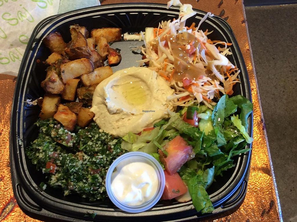 """Photo of Saj Mediterranean Grill  by <a href=""""/members/profile/FranRew"""">FranRew</a> <br/>This is what I (Fran Rew) picked for my high nutrition choices.  I never expected that it was going to taste so fresh and good!!  It was healing and energizing!! <br/> October 27, 2014  - <a href='/contact/abuse/image/49328/84034'>Report</a>"""