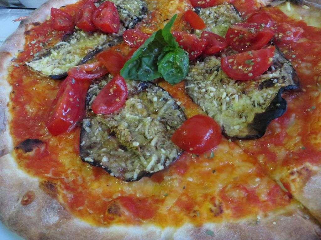 """Photo of Angelos Via Napoli  by <a href=""""/members/profile/VegiAnna"""">VegiAnna</a> <br/>Pizza Con Melanzane (eggplant, tomatoes, basil, with vegan cheese instead of mozzarella - please note that vegan cheese is only possible for groups upon advance notice!) <br/> August 15, 2014  - <a href='/contact/abuse/image/49373/77027'>Report</a>"""