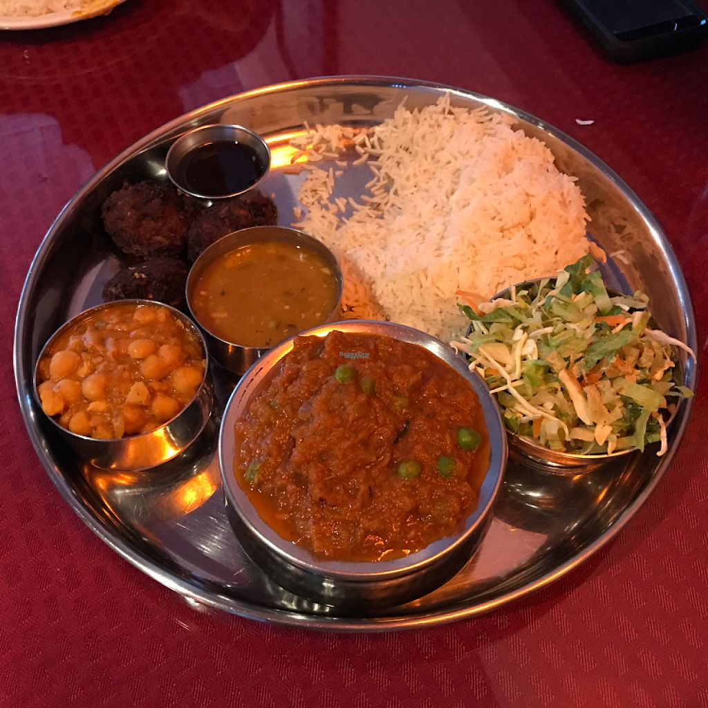 """Photo of Namaste Shangri-la  by <a href=""""/members/profile/Sarah%20P"""">Sarah P</a> <br/>vegan thali from the menu <br/> December 17, 2016  - <a href='/contact/abuse/image/49388/202301'>Report</a>"""