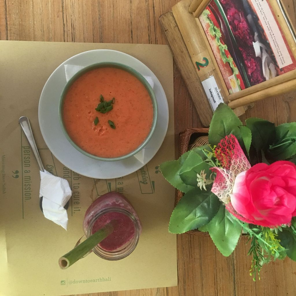"Photo of Zula - Sanur  by <a href=""/members/profile/happycandy"">happycandy</a> <br/>raw gazpacho & acai bliss smoothie <br/> April 23, 2016  - <a href='/contact/abuse/image/49409/145854'>Report</a>"