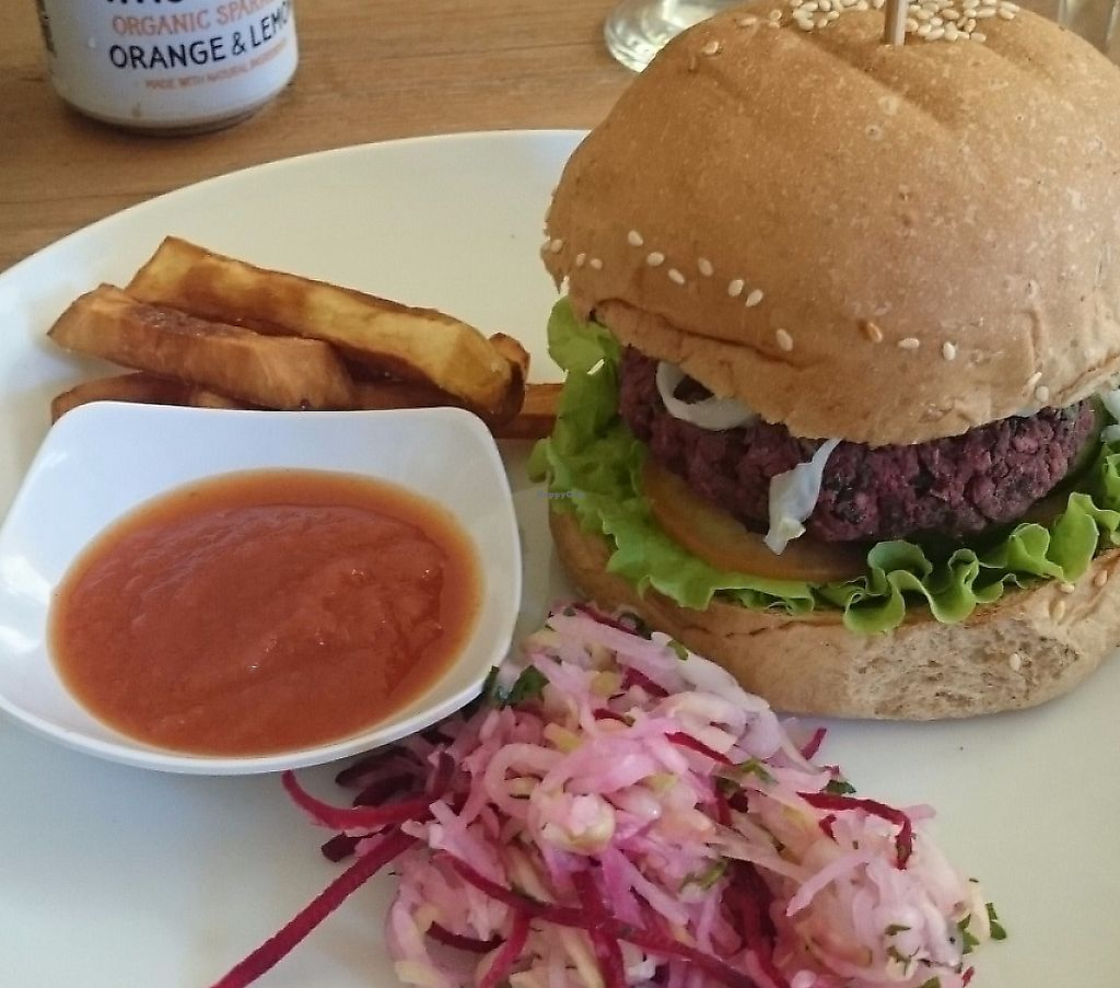"Photo of Zula - Sanur  by <a href=""/members/profile/Cynthia1998"">Cynthia1998</a> <br/>The vegan beetroot burger with sweet potato chips and salad <br/> December 8, 2016  - <a href='/contact/abuse/image/49409/267530'>Report</a>"