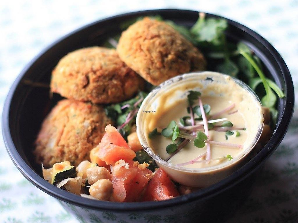 """Photo of Nourish  by <a href=""""/members/profile/NourishCharlotte"""">NourishCharlotte</a> <br/>Falafel Platter, ready for delivery! <br/> January 29, 2018  - <a href='/contact/abuse/image/49416/352410'>Report</a>"""