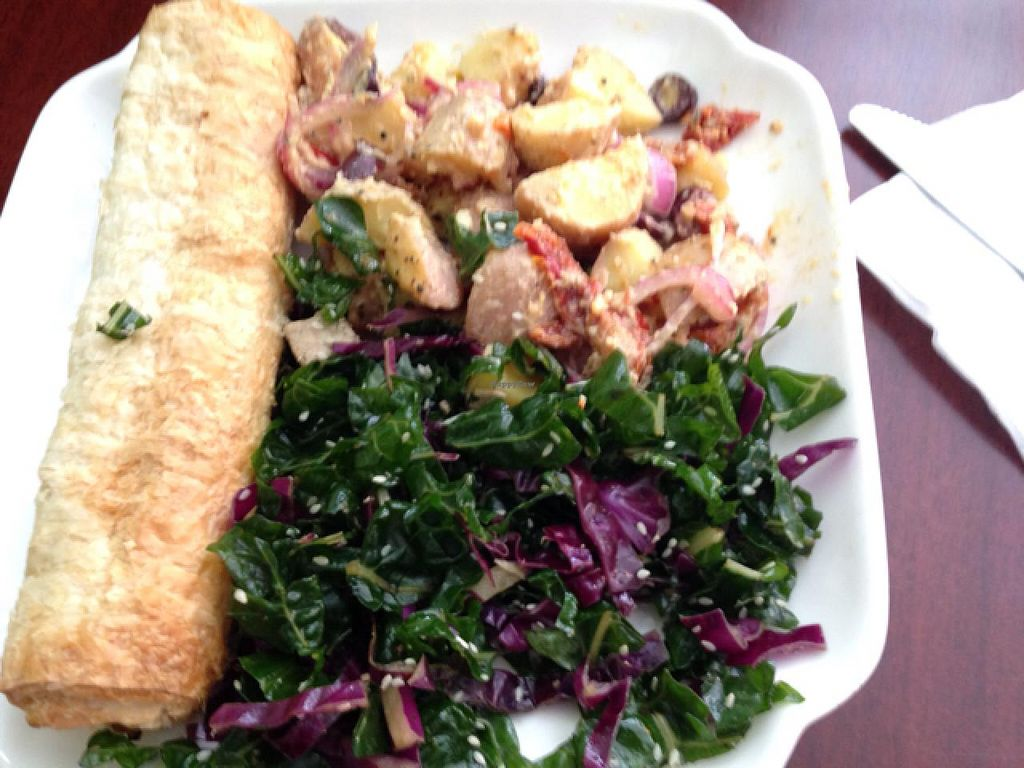 """Photo of CLOSED: The Forest Food Lounge  by <a href=""""/members/profile/StephanieSeas"""">StephanieSeas</a> <br/>pumpkin & barley roll with lemon potato salad and spinach tofu salad  <br/> January 20, 2015  - <a href='/contact/abuse/image/4951/90891'>Report</a>"""
