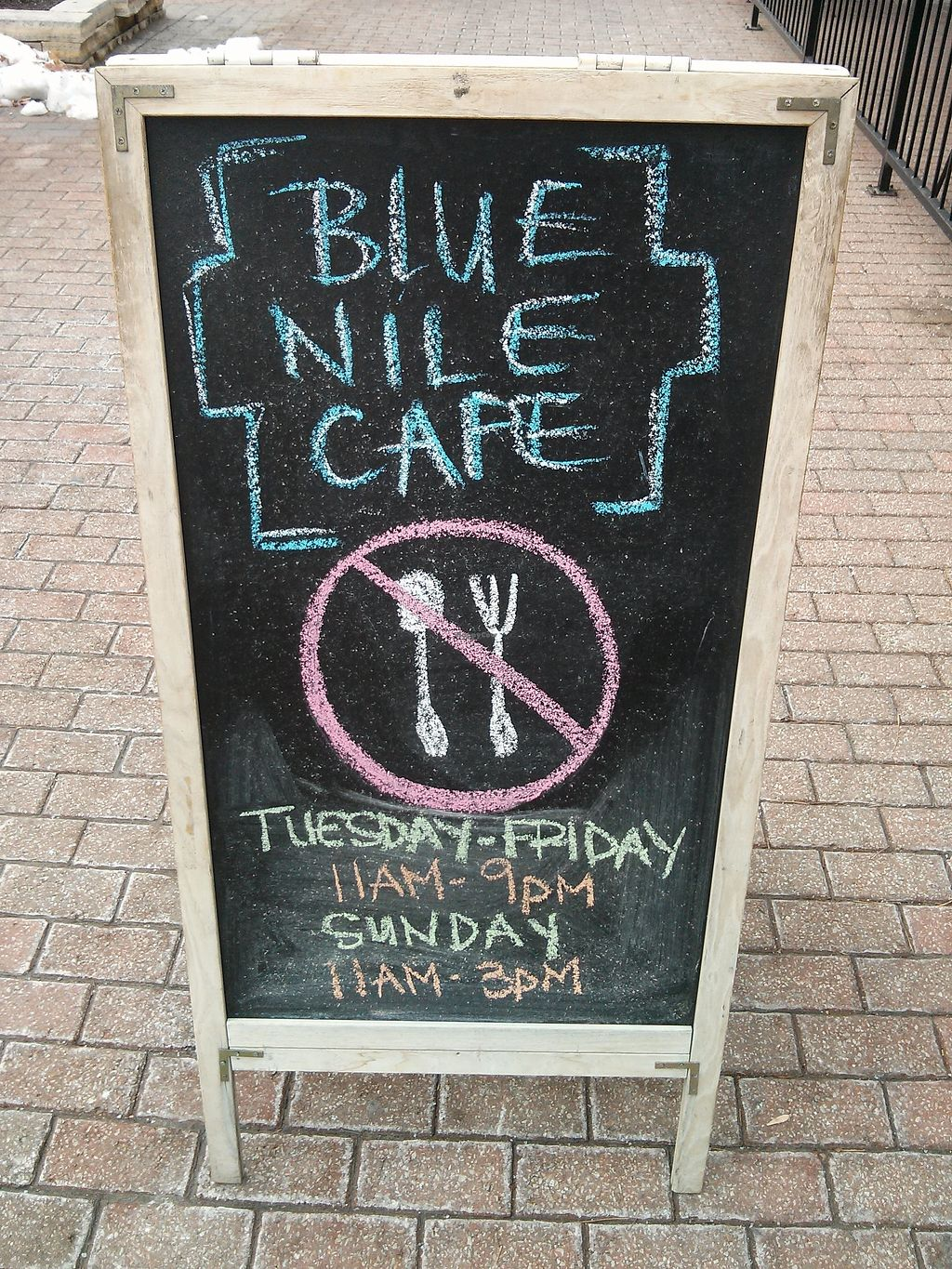"Photo of Blue Nile Cafe  by <a href=""/members/profile/Justin%20K."" class=""title__title"">Justin K.</a> <br/>Outside sign from a few years ago...double check the hours! <br/> October 3, 2017  - <a href='/contact/abuse/image/4963/311196'>Report</a>"