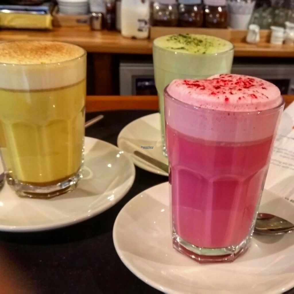 """Photo of Waterside Cafe  by <a href=""""/members/profile/MagdaSzymanska"""">MagdaSzymanska</a> <br/>Superfood lattes: matcha, beetroot and turmeric  <br/> January 9, 2017  - <a href='/contact/abuse/image/4984/210138'>Report</a>"""