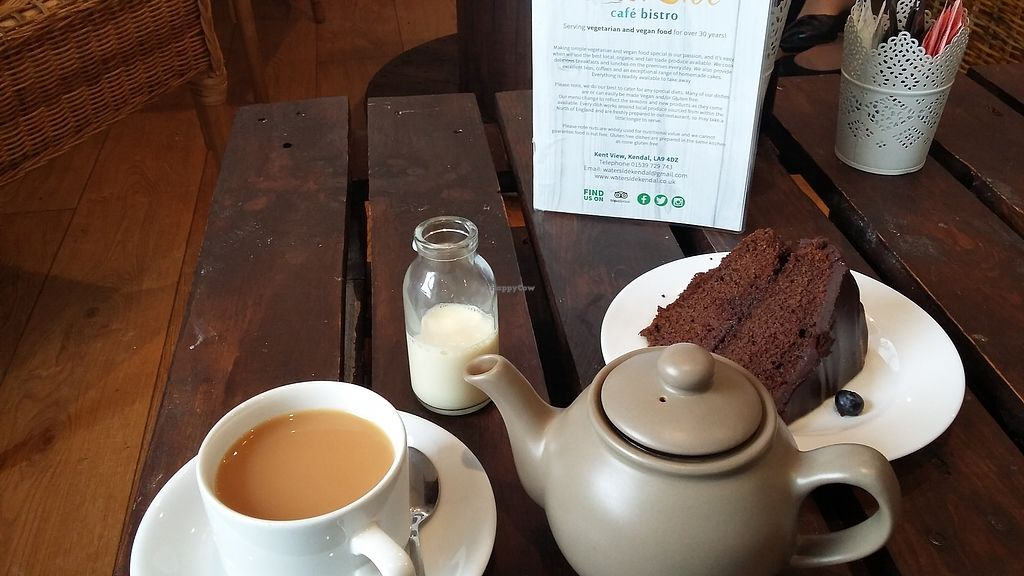 """Photo of Waterside Cafe  by <a href=""""/members/profile/usualframe"""">usualframe</a> <br/>Tea with soya milk and vegan chocolate cake <br/> September 18, 2017  - <a href='/contact/abuse/image/4984/305659'>Report</a>"""