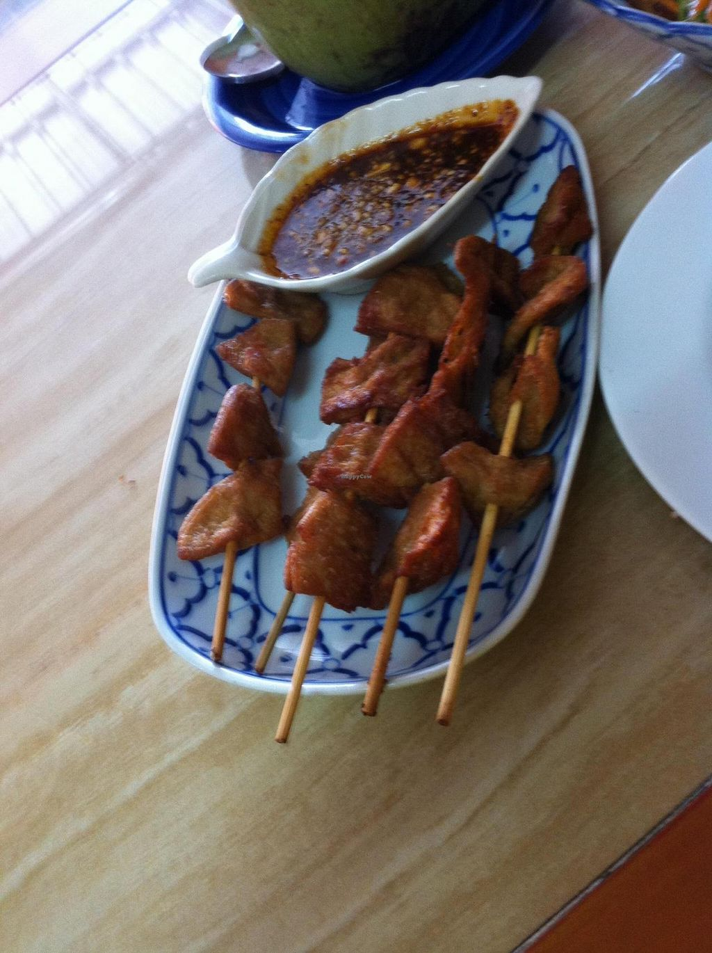 "Photo of CLOSED: Mea Nuu Vegetarian Food  by <a href=""/members/profile/mambous"">mambous</a> <br/>Chicken Satay (veggie protein) with peanut sauce... wow!! <br/> August 28, 2014  - <a href='/contact/abuse/image/50006/78527'>Report</a>"